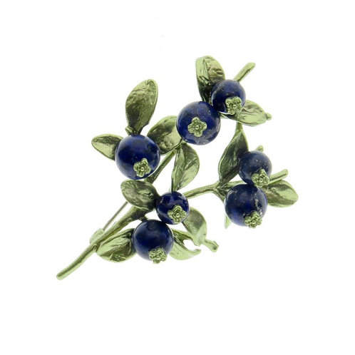 BLUEBERRY BROOCH WITH LAPIS LAZULI