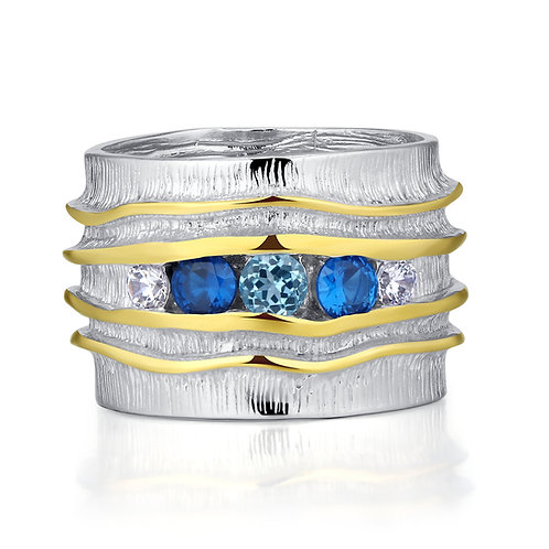 NANO BLUE AND CLEAR SAPPHIRE RING IN STERLING SILVER
