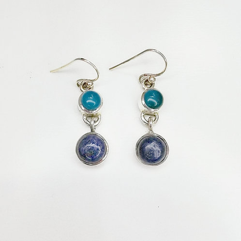 CHALCEDONY AND LAPIS LAZULI STERLING SILVER EARRING