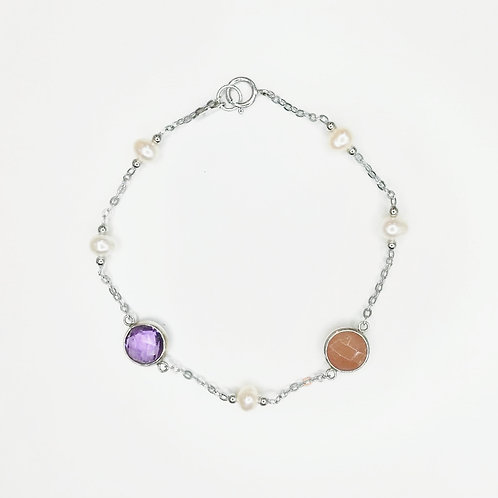 AMETHYST, SAND STONE AND FRESHWATER PEARL STERLING SILVER BRACELET