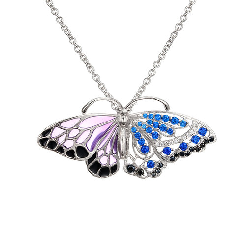 BEAUTIFUL BUTTERFLY NECKLACE WITH ENAMEL AND BLUE CRYSTAL WINGS IN STERLING SIL