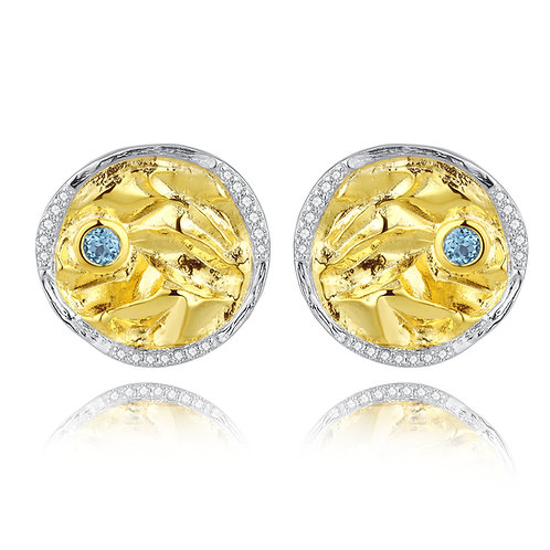 DISC EARRINGS WITH BLUE TOPAZ IN GOLD-PLATED STERLING SILVER