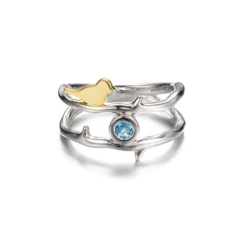 BIRD ON BRANCH RING WITH BLUE TOPAZ IN STERLING SILVER