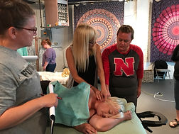 Ann Murley Teaching Student At Omaha Massage Continuing Education Workshops