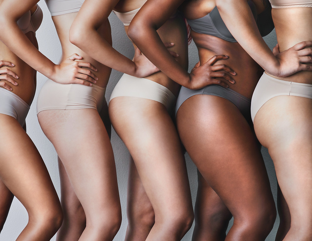 body neutral, females bodies of different sizes and shapes