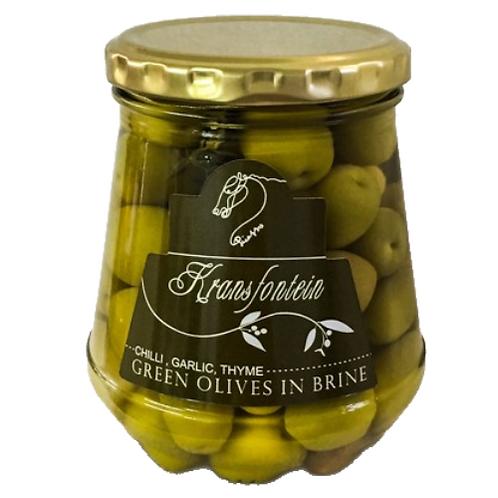 Kransfontein Green Olives in Brine - Chilli, Garlic, Thyme Flavoured (375