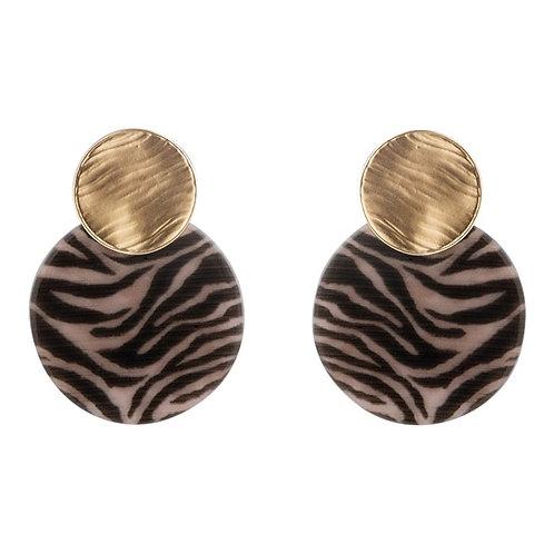 Oorbellen disc Zebra