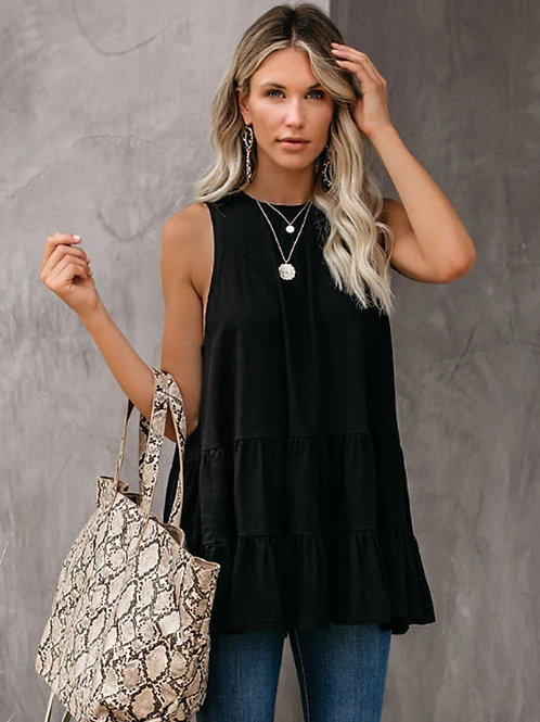 SLEEVELESS RUFFLE TUNIC