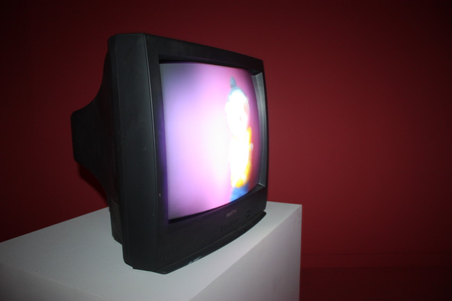 """""""Kayla Takes Off Her Shirt"""", Installation single channel video and television, dimensions vary, 2013."""