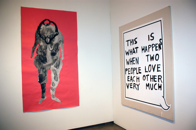 """""""This is What Happens When two People Love Each Other Very Much"""", Acrylicn and oil crayon on canvas, 2013."""
