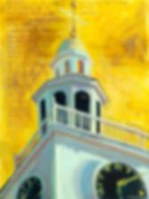 Anne Sutherland Paintig of Nantucket Untarian Church tower