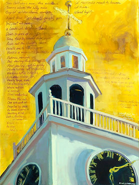 Anne Sutherland Paintig of Nantucket Untarian Church tower