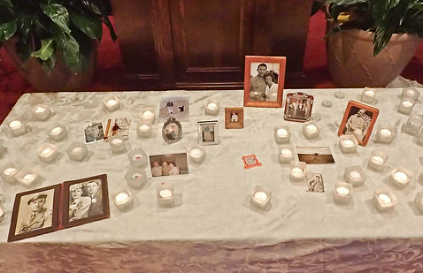 remembrance service candles and pictures