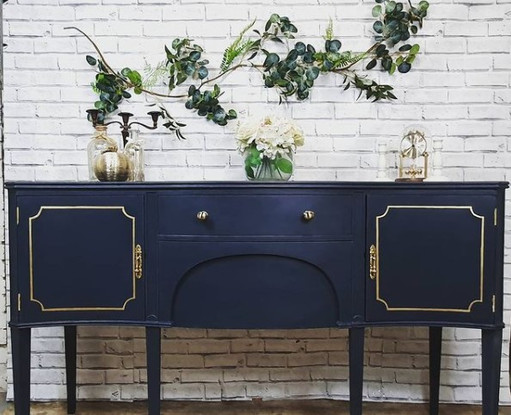 blue table with drawers
