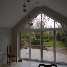garden office with arch window space