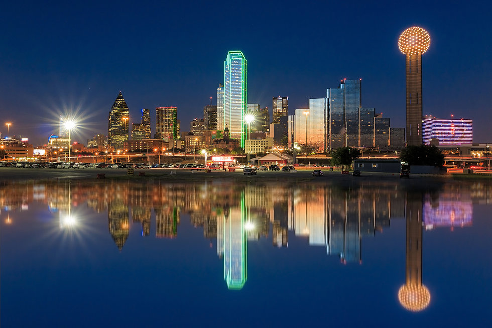 Dallas skyline reflected in Trinity Rive