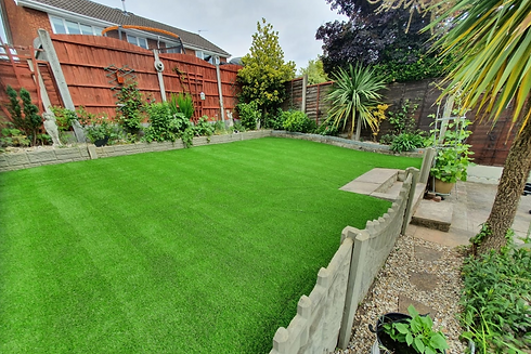 Landscaped garden with artificial turf