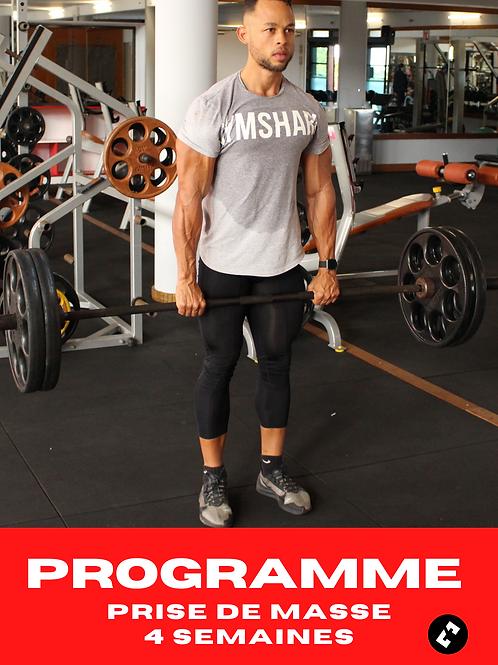Programme Prise De Masse -  Salle musculation - 4 semaines