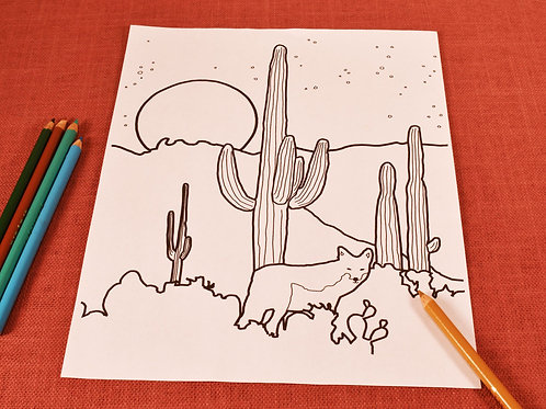 Coloring Page | Coyote Moon