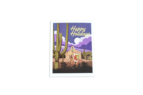 VEN | Happy Holidays Note Card | Santa On His Horse | Tucson