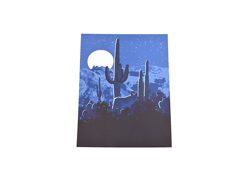 Print   Southwest Coyote Moon   Tucson Option