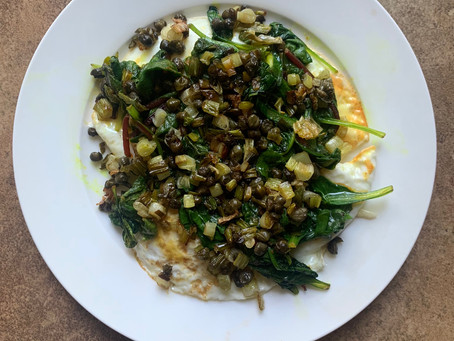 Sauteed Greens with Crispy Scallions and Capers