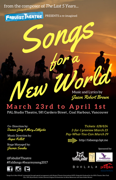 Songs For A New World 2017