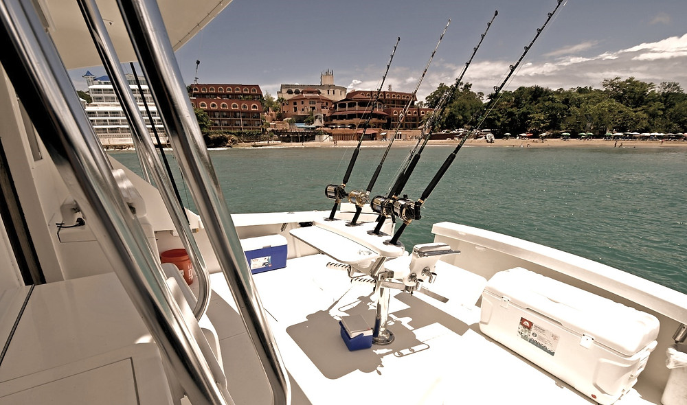 Fishing rods on a yacht