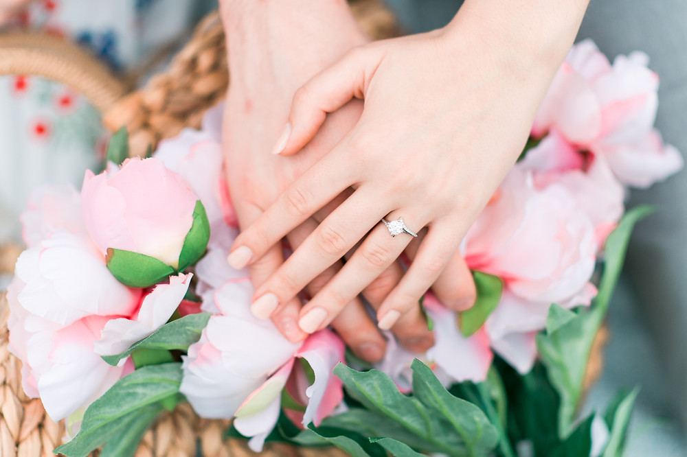 beautiful ring with flowers in background