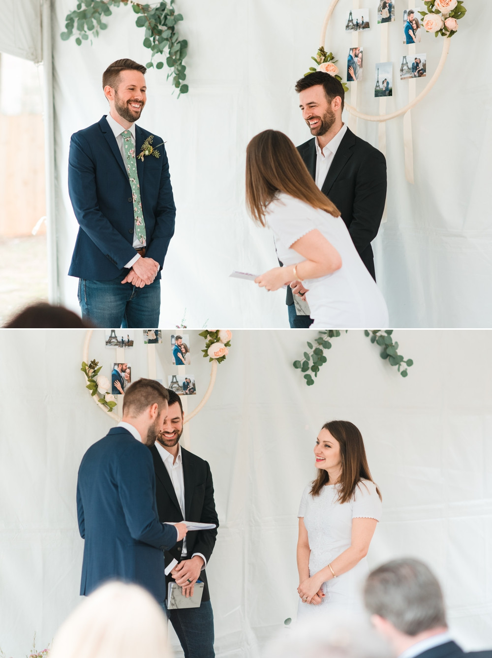 bride and groom exchanging vows and laughing while bride is wearing a white dress