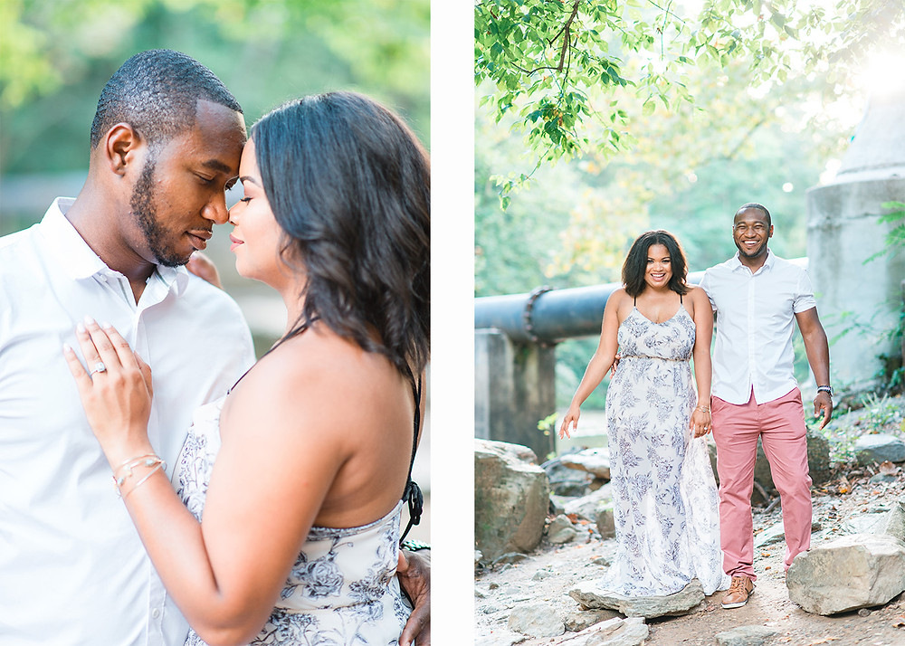 beautiful african american couple doing eskimo kisses for their engagement session in downtown roswell