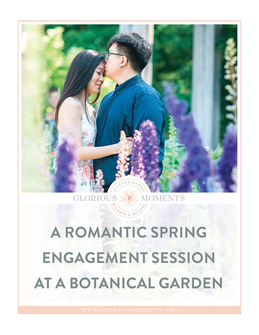 girl wearing a flower dress a couple kissing for a romantic atlanta botanical garden engagement session in spring