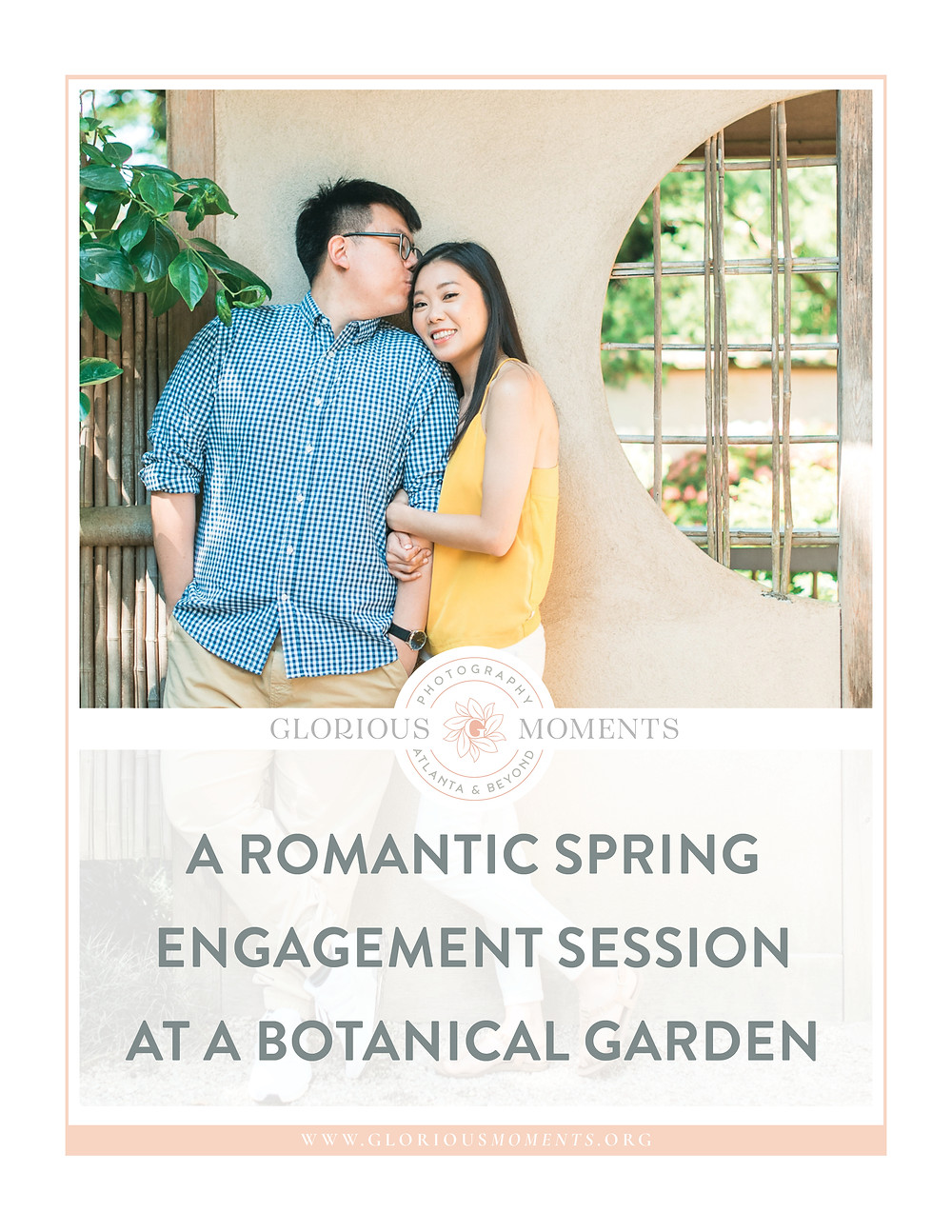 a couple laughing for a romantic atlanta botanical garden engagement session in spring
