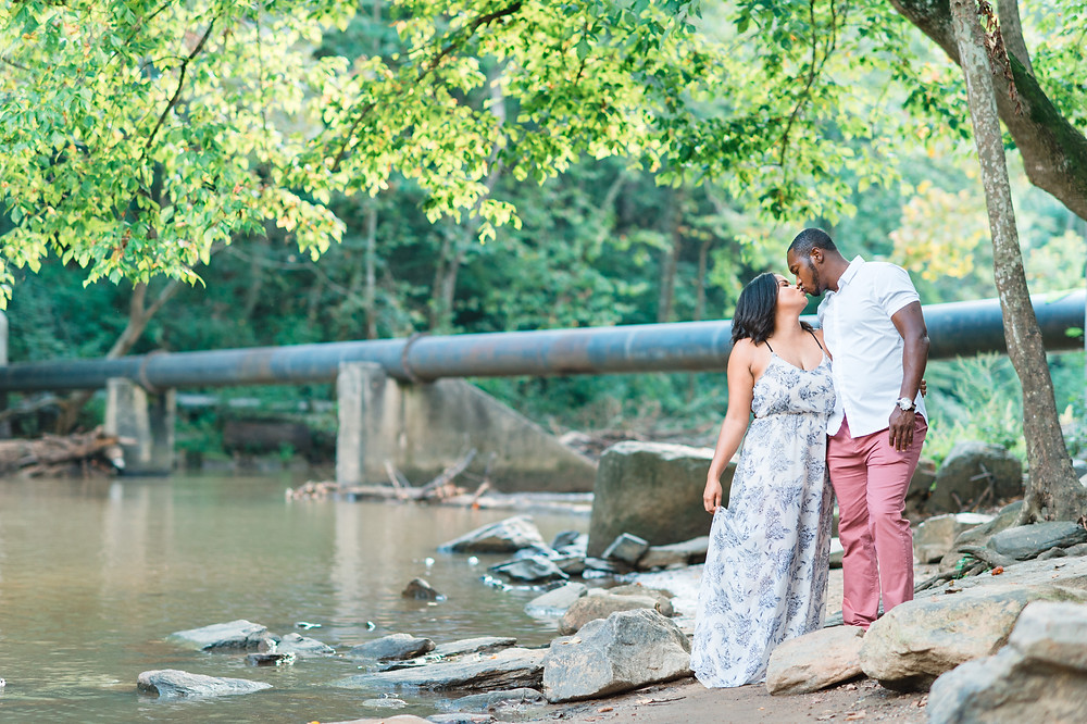 black couple during their engagement session in downtown roswell