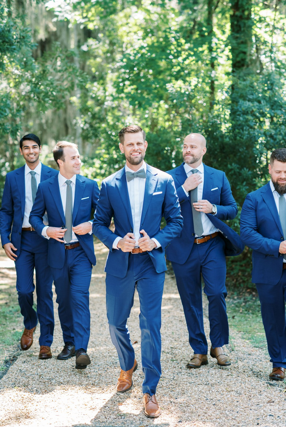 navy groomsmen suit at st simons island wedding