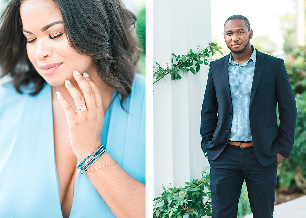beautiful african american couple in barrington hall, downtown roswell for an engagement session