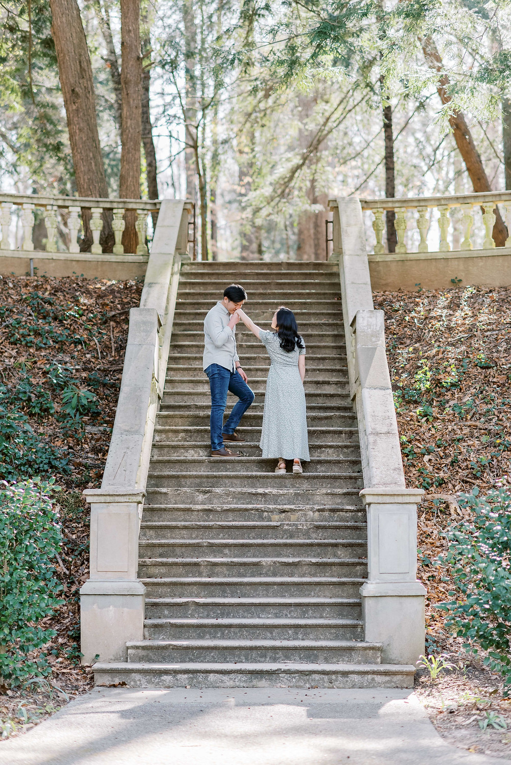 A Whimsical Cator Woolford Garden Engagement Session in the Spring grand staircase