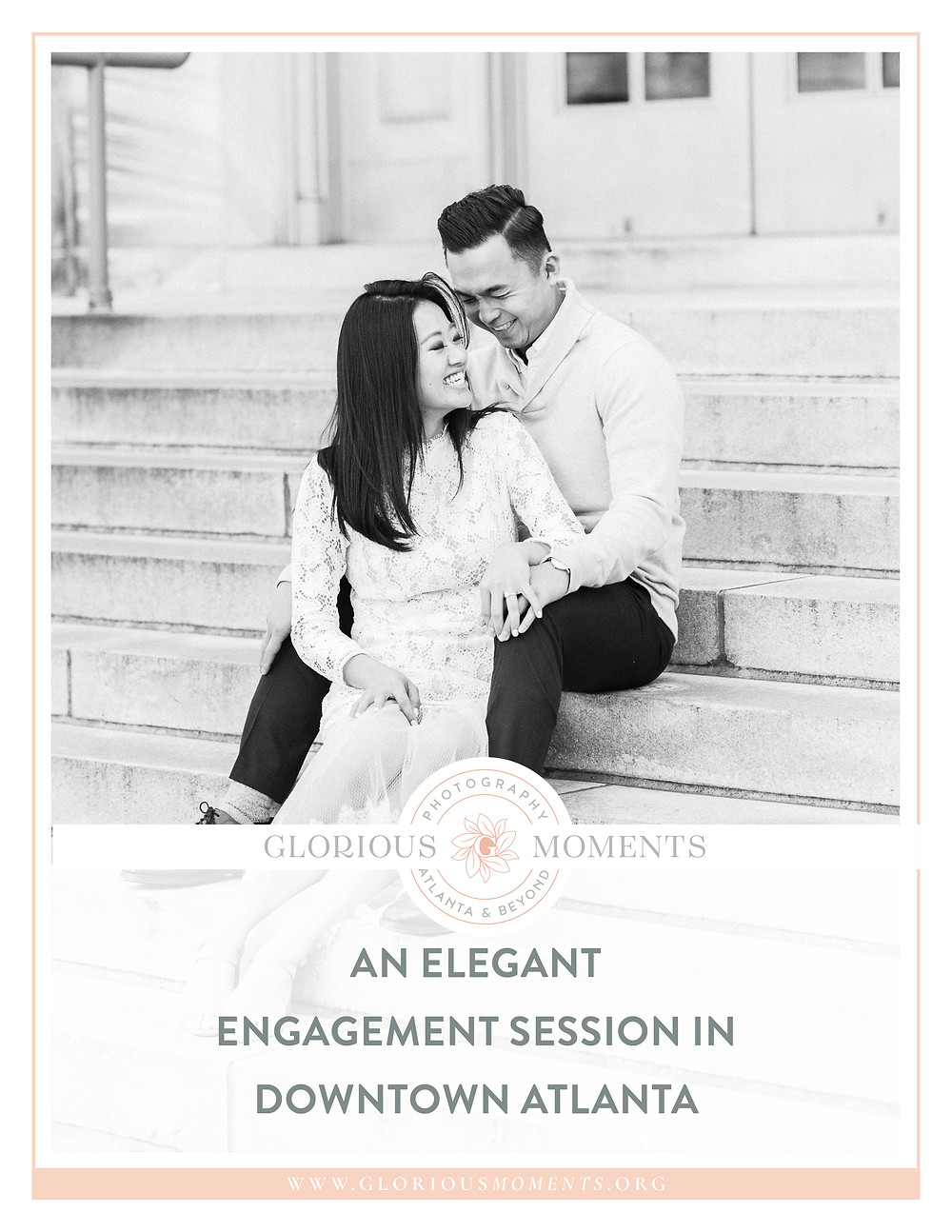 engagement session in downtown atlanta asian couple kissing forehead with white dress and j crew sweater candid wedding photographer