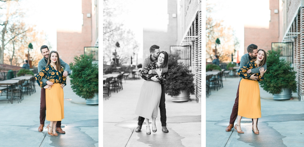 engagement session at westside provisions atlanta woman wearing yellow skirt and guy wearing maroon jeans