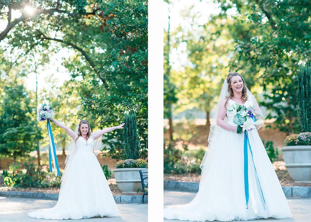 Beautiful Bride getting married at Piedmont Park with blue flower arrangement