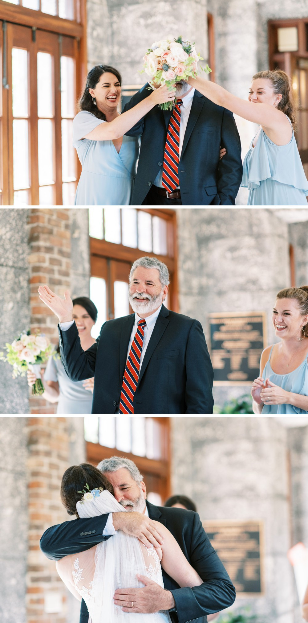 the sweetest father-daughter first look on wedding day at st simons island wedding wesley methodist church