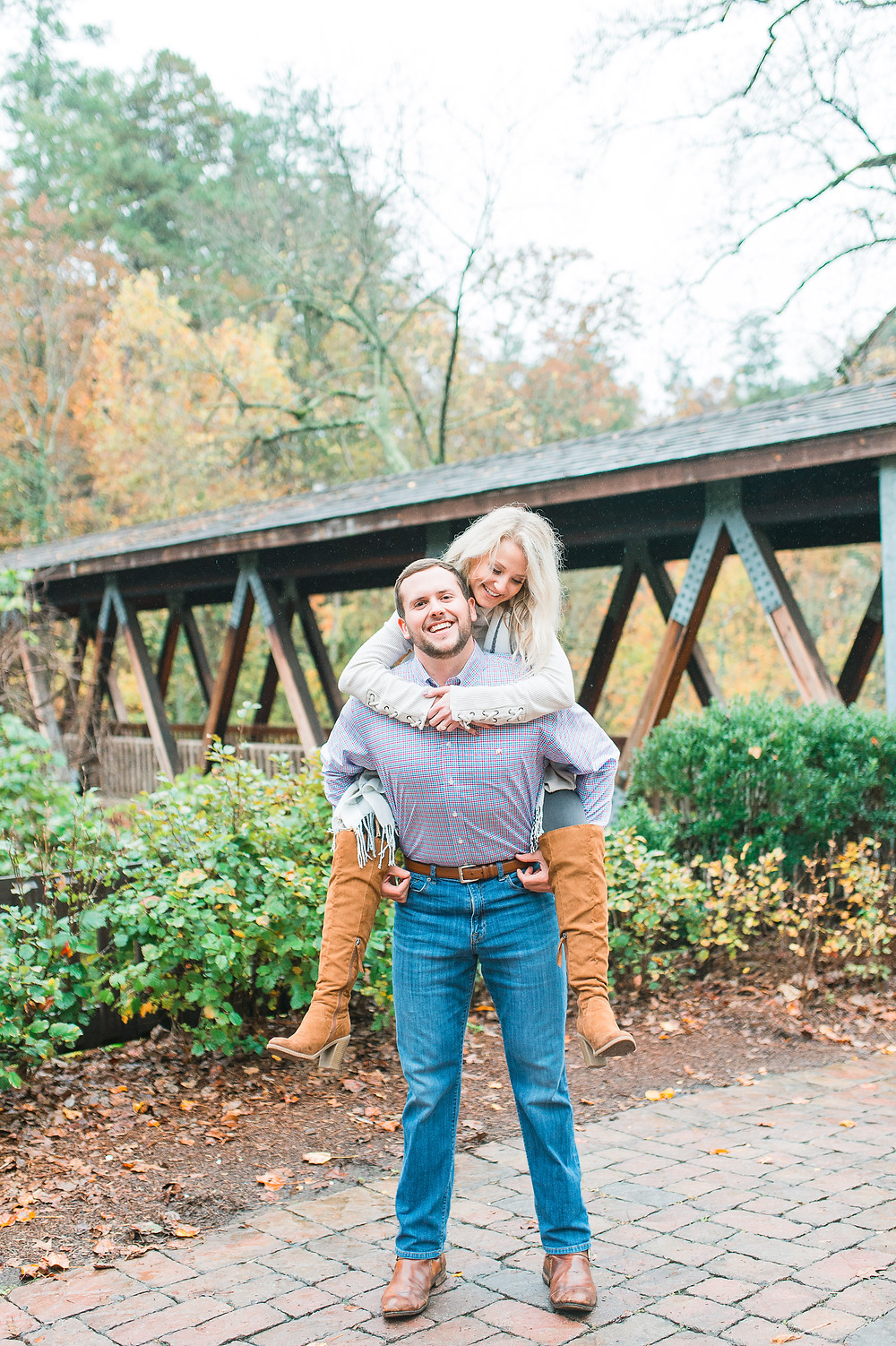 roswell mill engagement session in downtown roswell georgia in the fall