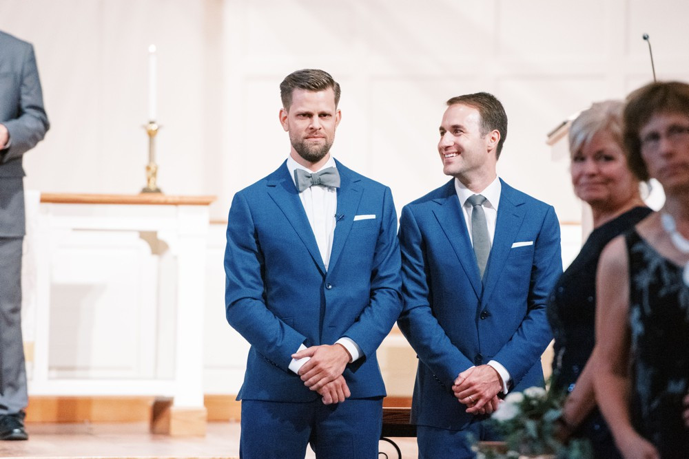 groom's reaction at wesley methodist church st simons island destination wedding