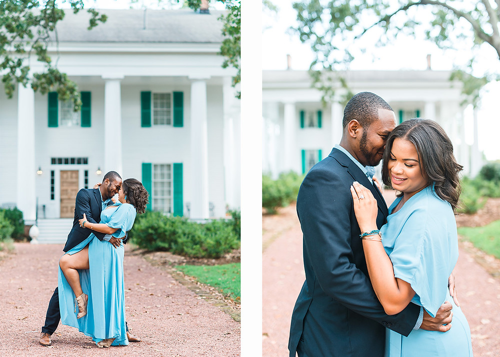 beautiful downtown roswell engagement session with african-american couple