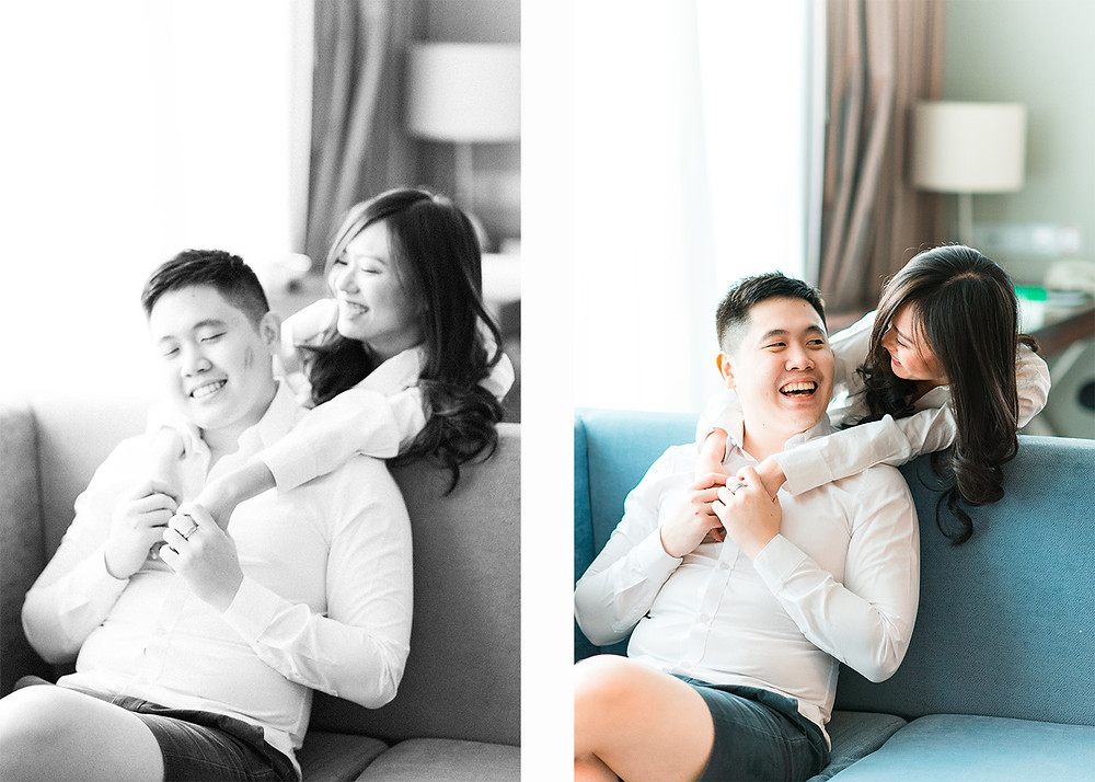 asian couple laughing in their home for an engagement session shot by asian wedding photographer in atlanta