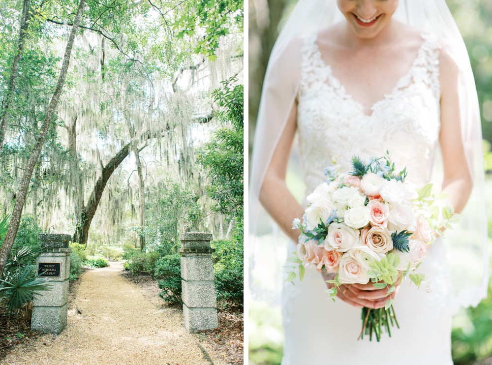 A Destination Wedding at St. Simons Island bride getting ready under a beautiful spanish moss tree