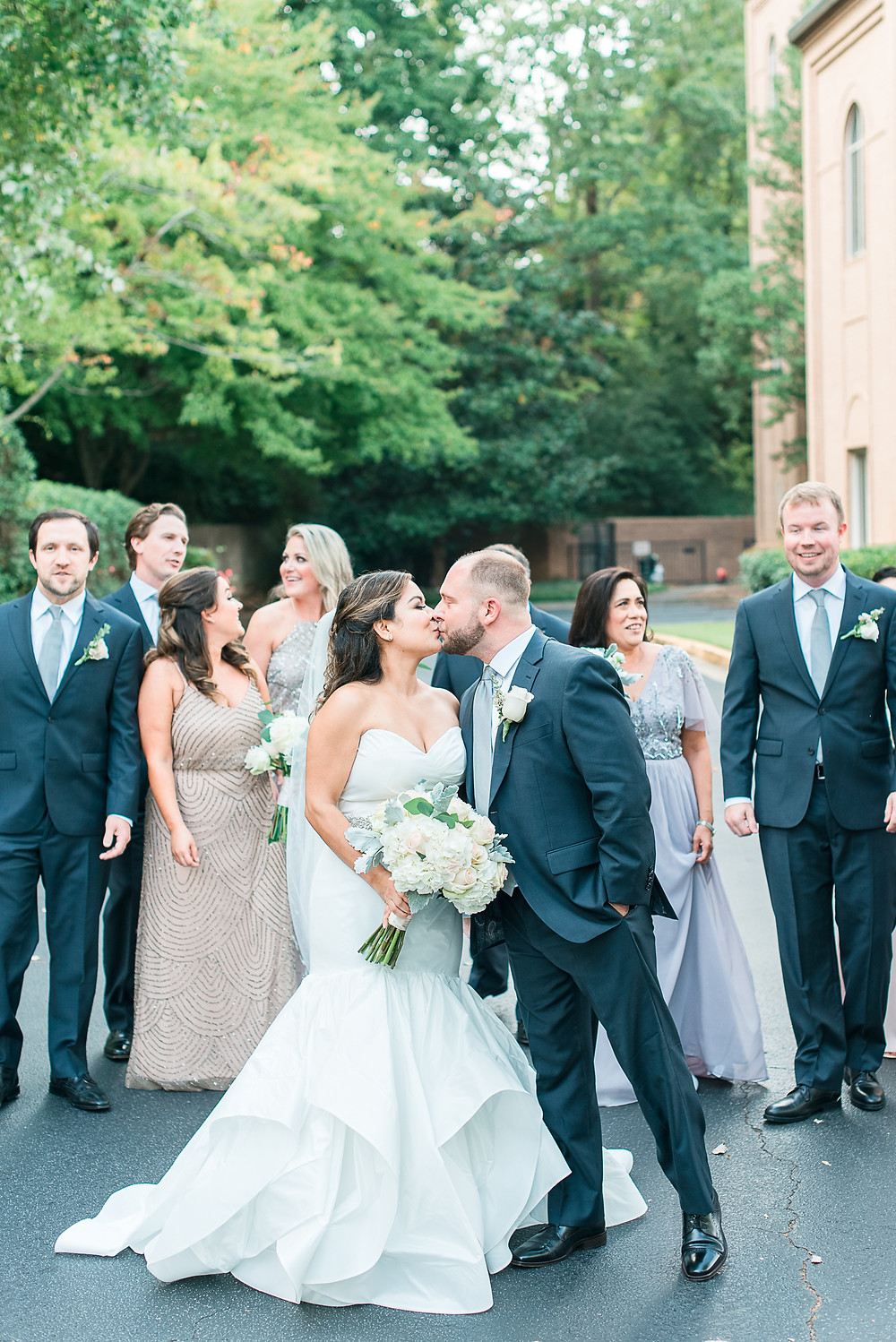 bridesmaids wearing blush wedding dress for a chastain horse park wedding