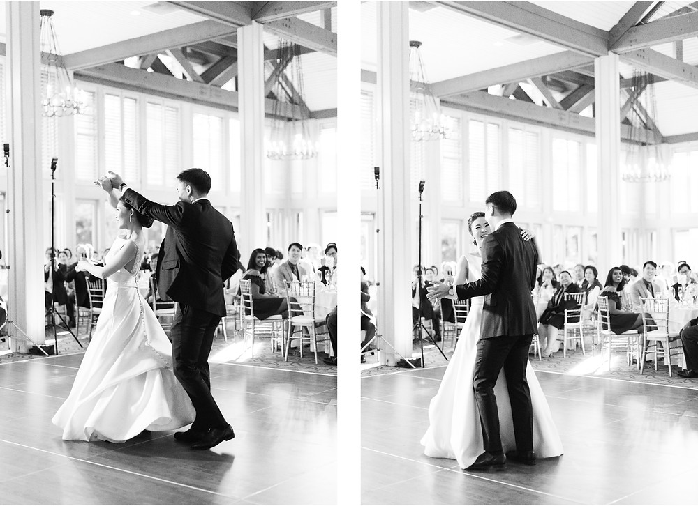first dances as husband and wife at country club of the south wedding ballroom