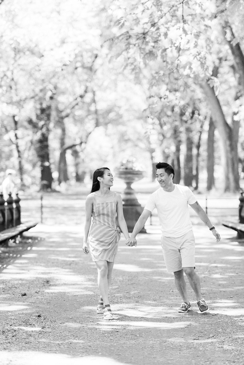 a bride and groom central park engagement session