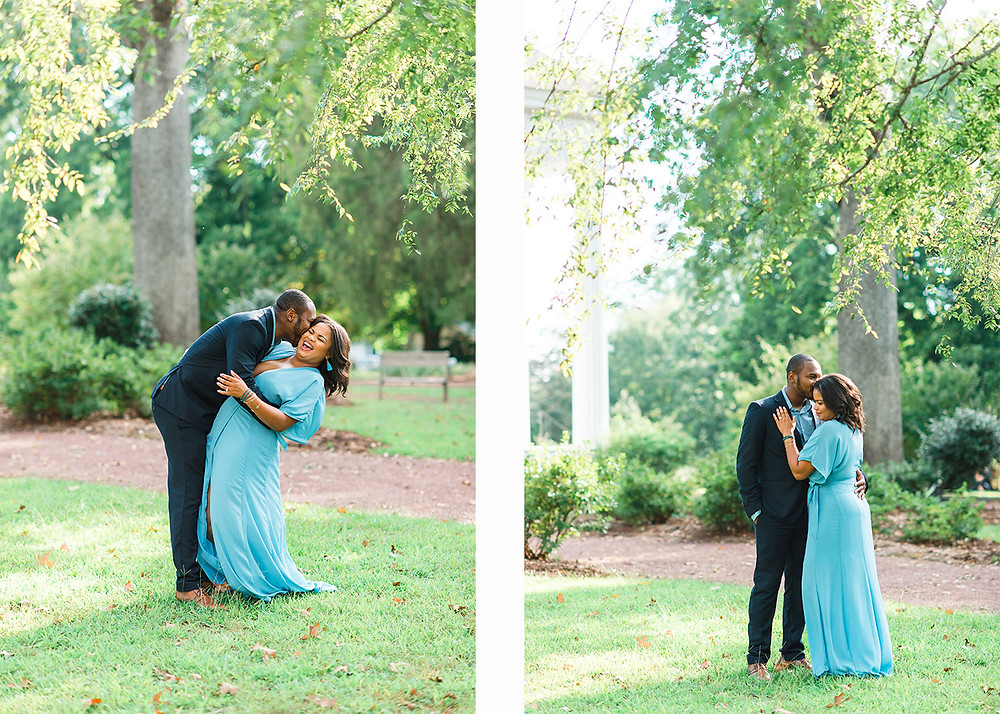 bride is laughing at plantation engagement session in downtown roswell with a beautiful outdoor setting